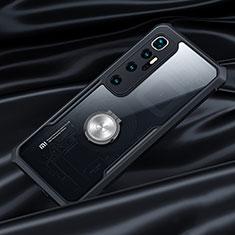 Silikon Hülle Handyhülle Rahmen Schutzhülle Durchsichtig Transparent Spiegel 360 Grad Ganzkörper mit Magnetisch Fingerring Ständer für Xiaomi Mi 10 Ultra Schwarz