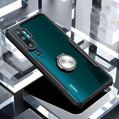 Silikon Hülle Handyhülle Rahmen Schutzhülle Durchsichtig Transparent Spiegel 360 Grad Ganzkörper mit Magnetisch Fingerring Ständer für Xiaomi Mi Note 10 Schwarz
