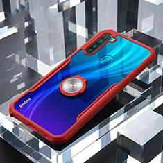 Silikon Hülle Handyhülle Rahmen Schutzhülle Durchsichtig Transparent Spiegel 360 Grad Ganzkörper mit Magnetisch Fingerring Ständer für Xiaomi Redmi Note 8 Rot