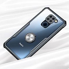 Silikon Hülle Handyhülle Rahmen Schutzhülle Durchsichtig Transparent Spiegel 360 Grad Ganzkörper mit Magnetisch Fingerring Ständer für Xiaomi Redmi Note 9 Schwarz