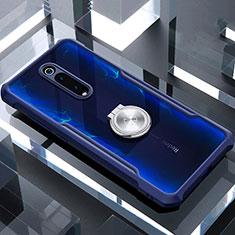 Silikon Hülle Handyhülle Rahmen Schutzhülle Durchsichtig Transparent Spiegel 360 Grad Ganzkörper mit Magnetisch Fingerring Ständer T01 für Xiaomi Mi 9T Pro Blau