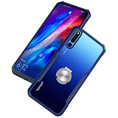 Silikon Hülle Handyhülle Rahmen Schutzhülle Durchsichtig Transparent Spiegel 360 Grad mit Magnetisch Fingerring Ständer A01 für Huawei Honor Magic 2 Blau