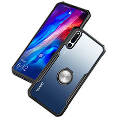 Silikon Hülle Handyhülle Rahmen Schutzhülle Durchsichtig Transparent Spiegel 360 Grad mit Magnetisch Fingerring Ständer A01 für Huawei Honor Magic 2 Schwarz