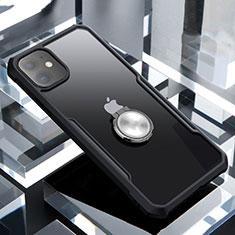 Silikon Hülle Handyhülle Rahmen Schutzhülle Durchsichtig Transparent Spiegel 360 Grad mit Magnetisch Fingerring Ständer für Apple iPhone 11 Schwarz