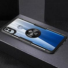 Silikon Hülle Handyhülle Rahmen Schutzhülle Durchsichtig Transparent Spiegel 360 Grad mit Magnetisch Fingerring Ständer für Huawei Honor 10 Lite Schwarz