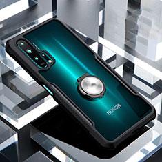 Silikon Hülle Handyhülle Rahmen Schutzhülle Durchsichtig Transparent Spiegel 360 Grad mit Magnetisch Fingerring Ständer für Huawei Honor 20 Pro Schwarz