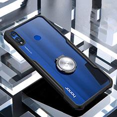 Silikon Hülle Handyhülle Rahmen Schutzhülle Durchsichtig Transparent Spiegel 360 Grad mit Magnetisch Fingerring Ständer für Huawei Honor 8X Schwarz