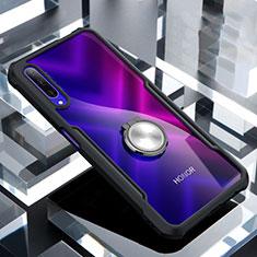 Silikon Hülle Handyhülle Rahmen Schutzhülle Durchsichtig Transparent Spiegel 360 Grad mit Magnetisch Fingerring Ständer für Huawei Honor 9X Pro Schwarz