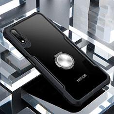 Silikon Hülle Handyhülle Rahmen Schutzhülle Durchsichtig Transparent Spiegel 360 Grad mit Magnetisch Fingerring Ständer für Huawei Honor 9X Schwarz