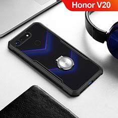 Silikon Hülle Handyhülle Rahmen Schutzhülle Durchsichtig Transparent Spiegel 360 Grad mit Magnetisch Fingerring Ständer für Huawei Honor V20 Schwarz