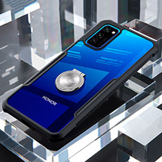 Silikon Hülle Handyhülle Rahmen Schutzhülle Durchsichtig Transparent Spiegel 360 Grad mit Magnetisch Fingerring Ständer für Huawei Honor View 30 5G Schwarz