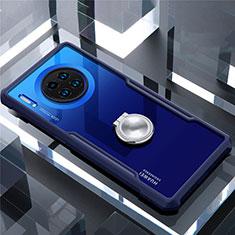 Silikon Hülle Handyhülle Rahmen Schutzhülle Durchsichtig Transparent Spiegel 360 Grad mit Magnetisch Fingerring Ständer für Huawei Mate 30 Blau