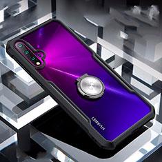 Silikon Hülle Handyhülle Rahmen Schutzhülle Durchsichtig Transparent Spiegel 360 Grad mit Magnetisch Fingerring Ständer für Huawei Nova 5 Schwarz