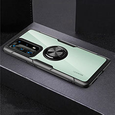 Silikon Hülle Handyhülle Rahmen Schutzhülle Durchsichtig Transparent Spiegel 360 Grad mit Magnetisch Fingerring Ständer für Huawei P40 Pro+ Plus Schwarz