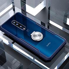 Silikon Hülle Handyhülle Rahmen Schutzhülle Durchsichtig Transparent Spiegel 360 Grad mit Magnetisch Fingerring Ständer für OnePlus 7 Pro Blau