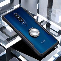 Silikon Hülle Handyhülle Rahmen Schutzhülle Durchsichtig Transparent Spiegel 360 Grad mit Magnetisch Fingerring Ständer für OnePlus 7 Pro Schwarz