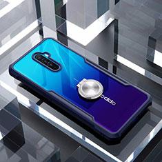 Silikon Hülle Handyhülle Rahmen Schutzhülle Durchsichtig Transparent Spiegel 360 Grad mit Magnetisch Fingerring Ständer für Oppo Reno Ace Blau