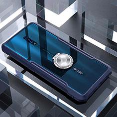Silikon Hülle Handyhülle Rahmen Schutzhülle Durchsichtig Transparent Spiegel 360 Grad mit Magnetisch Fingerring Ständer für Oppo Reno Blau