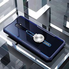 Silikon Hülle Handyhülle Rahmen Schutzhülle Durchsichtig Transparent Spiegel 360 Grad mit Magnetisch Fingerring Ständer für Oppo Reno2 Blau