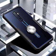 Silikon Hülle Handyhülle Rahmen Schutzhülle Durchsichtig Transparent Spiegel 360 Grad mit Magnetisch Fingerring Ständer für Oppo Reno2 Z Schwarz