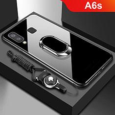 Silikon Hülle Handyhülle Rahmen Schutzhülle Durchsichtig Transparent Spiegel 360 Grad mit Magnetisch Fingerring Ständer für Samsung Galaxy A6s Schwarz