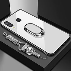 Silikon Hülle Handyhülle Rahmen Schutzhülle Durchsichtig Transparent Spiegel 360 Grad mit Magnetisch Fingerring Ständer für Samsung Galaxy A6s Weiß