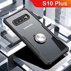 Silikon Hülle Handyhülle Rahmen Schutzhülle Durchsichtig Transparent Spiegel 360 Grad mit Magnetisch Fingerring Ständer für Samsung Galaxy S10 Plus Schwarz