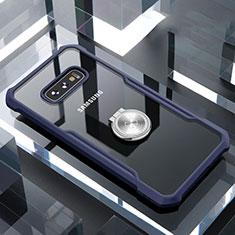 Silikon Hülle Handyhülle Rahmen Schutzhülle Durchsichtig Transparent Spiegel 360 Grad mit Magnetisch Fingerring Ständer für Samsung Galaxy S10e Blau