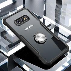 Silikon Hülle Handyhülle Rahmen Schutzhülle Durchsichtig Transparent Spiegel 360 Grad mit Magnetisch Fingerring Ständer für Samsung Galaxy S10e Schwarz