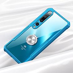 Silikon Hülle Handyhülle Rahmen Schutzhülle Durchsichtig Transparent Spiegel 360 Grad mit Magnetisch Fingerring Ständer für Xiaomi Mi 10 Blau
