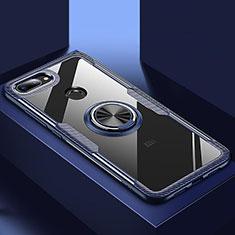 Silikon Hülle Handyhülle Rahmen Schutzhülle Durchsichtig Transparent Spiegel 360 Grad mit Magnetisch Fingerring Ständer für Xiaomi Mi 8 Lite Blau