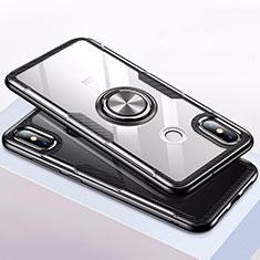 Silikon Hülle Handyhülle Rahmen Schutzhülle Durchsichtig Transparent Spiegel 360 Grad mit Magnetisch Fingerring Ständer für Xiaomi Mi 8 Schwarz