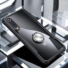 Silikon Hülle Handyhülle Rahmen Schutzhülle Durchsichtig Transparent Spiegel 360 Grad mit Magnetisch Fingerring Ständer für Xiaomi Mi 9 Pro Schwarz