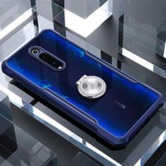 Silikon Hülle Handyhülle Rahmen Schutzhülle Durchsichtig Transparent Spiegel 360 Grad mit Magnetisch Fingerring Ständer für Xiaomi Mi 9T Pro Blau