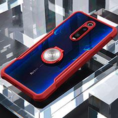 Silikon Hülle Handyhülle Rahmen Schutzhülle Durchsichtig Transparent Spiegel 360 Grad mit Magnetisch Fingerring Ständer für Xiaomi Mi 9T Pro Rot