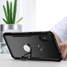 Silikon Hülle Handyhülle Rahmen Schutzhülle Durchsichtig Transparent Spiegel 360 Grad mit Magnetisch Fingerring Ständer für Xiaomi Redmi Note 6 Pro Schwarz