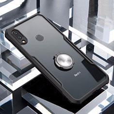 Silikon Hülle Handyhülle Rahmen Schutzhülle Durchsichtig Transparent Spiegel 360 Grad mit Magnetisch Fingerring Ständer für Xiaomi Redmi Note 7 Schwarz