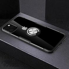 Silikon Hülle Handyhülle Rahmen Schutzhülle Durchsichtig Transparent Spiegel 360 Grad mit Magnetisch Fingerring Ständer M01 für Apple iPhone 11 Pro Max Schwarz