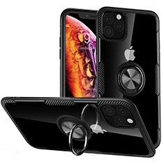 Silikon Hülle Handyhülle Rahmen Schutzhülle Durchsichtig Transparent Spiegel 360 Grad mit Magnetisch Fingerring Ständer M02 für Apple iPhone 11 Pro Max Schwarz