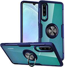 Silikon Hülle Handyhülle Rahmen Schutzhülle Durchsichtig Transparent Spiegel 360 Grad mit Magnetisch Fingerring Ständer S01 für Huawei P30 Blau