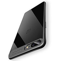 Silikon Hülle Handyhülle Rahmen Schutzhülle Durchsichtig Transparent Spiegel 360 Grad T02 für OnePlus 5 Schwarz