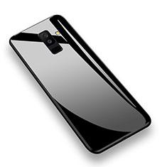 Silikon Hülle Handyhülle Rahmen Schutzhülle Durchsichtig Transparent Spiegel 360 Grad T02 für Samsung Galaxy A6 Plus (2018) Schwarz