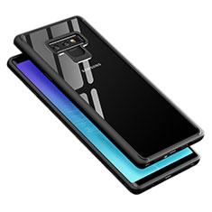 Silikon Hülle Handyhülle Rahmen Schutzhülle Durchsichtig Transparent Spiegel 360 Grad T02 für Samsung Galaxy Note 9 Schwarz