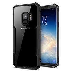 Silikon Hülle Handyhülle Rahmen Schutzhülle Durchsichtig Transparent Spiegel 360 Grad T02 für Samsung Galaxy S9 Schwarz