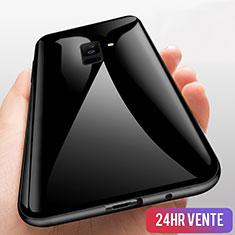 Silikon Hülle Handyhülle Rahmen Schutzhülle Durchsichtig Transparent Spiegel 360 Grad T03 für Samsung Galaxy A9 Star Lite Schwarz