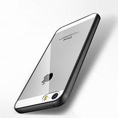 Silikon Hülle Handyhülle Rahmen Schutzhülle Durchsichtig Transparent Spiegel für Apple iPhone 5S Schwarz
