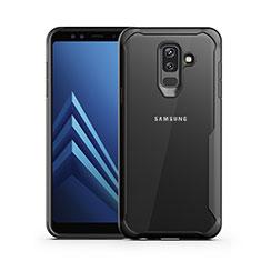 Silikon Hülle Handyhülle Rahmen Schutzhülle Durchsichtig Transparent Spiegel für Samsung Galaxy A6 Plus (2018) Schwarz