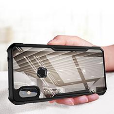Silikon Hülle Handyhülle Rahmen Schutzhülle Durchsichtig Transparent Spiegel für Xiaomi Redmi Note 6 Pro Schwarz
