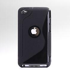 Silikon Hülle Handyhülle S-Line Schutzhülle Durchsichtig Transparent für Apple iPod Touch 4 Schwarz
