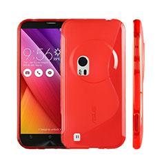 Silikon Hülle Handyhülle S-Line Schutzhülle Durchsichtig Transparent für Asus Zenfone Zoom ZX551ML Rot